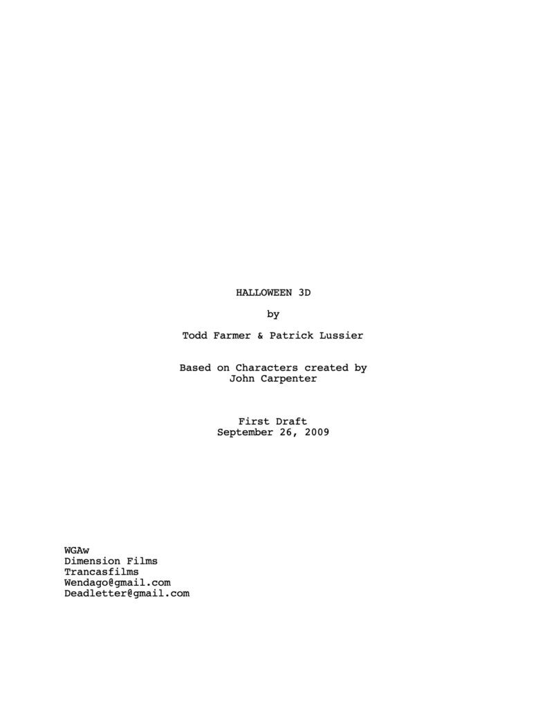 Halloween 3D - Unused Script (First Draft)