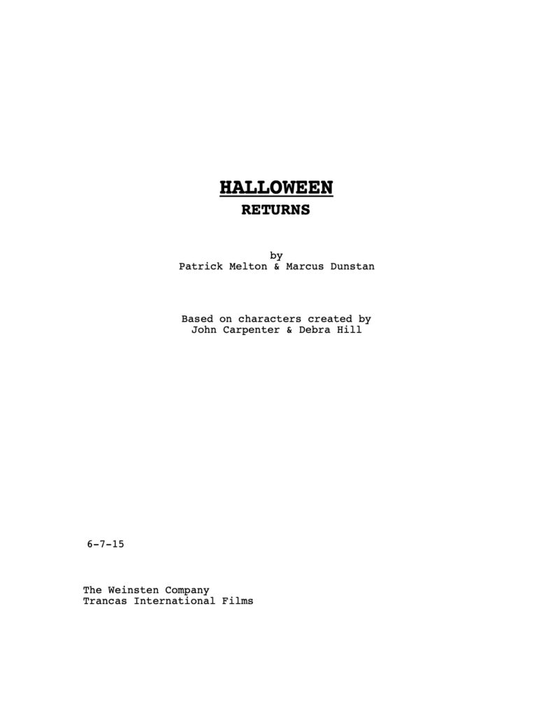 Halloween Returns - Unused Script