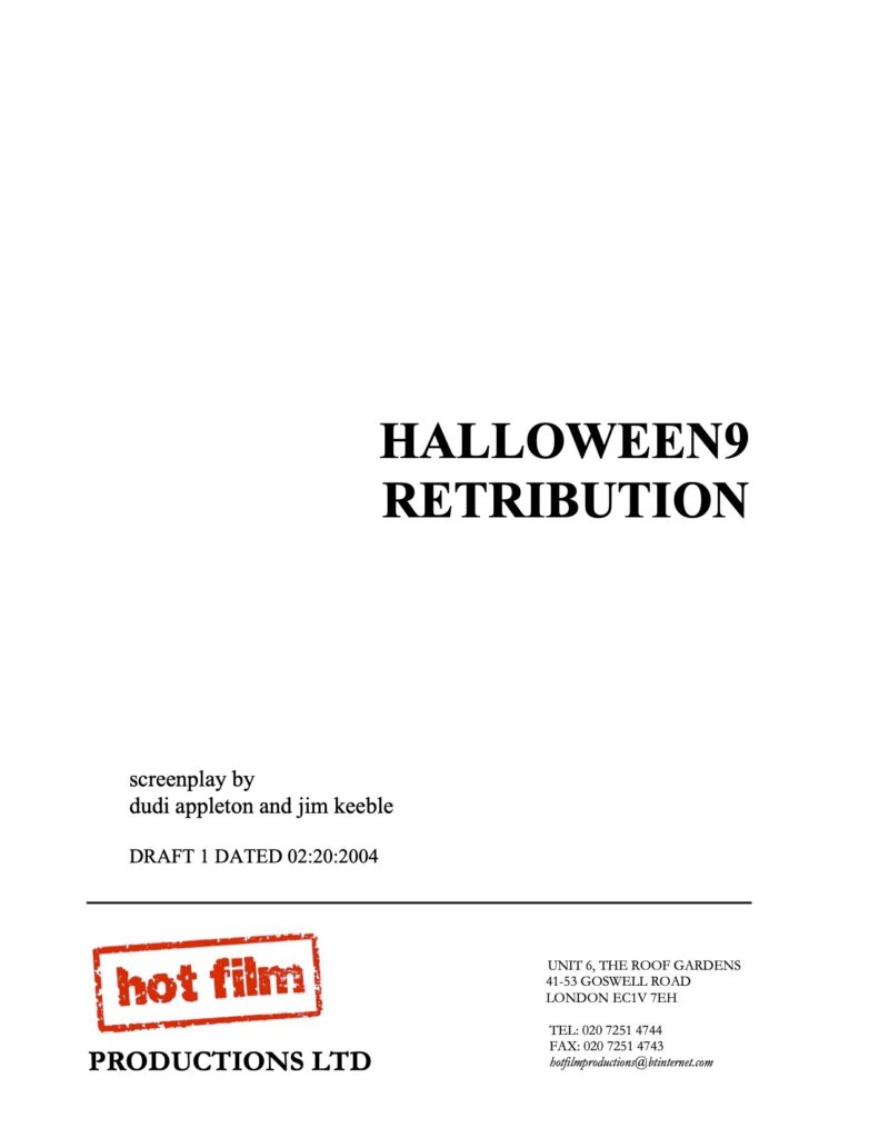 Halloween 9: Retribution - Unused Script (First Draft)